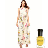 Ted Baker's Belted Maxi Dress ($331) has delicate yellow flowers that match beautifully with Deborah Lippmann's Yellow Brick Road Nail Laquer ($17).