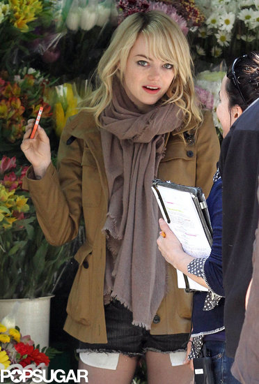 Emma Stone was on the set of her latest project, Michael Keaton's Birdman, in NYC.