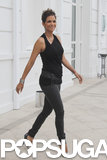 Halle Berry wore a black tank top and jeans.