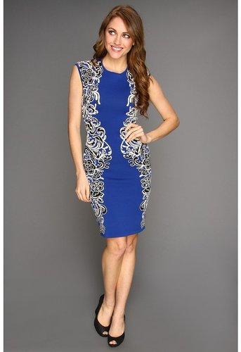 BCBGMAXAZRIA - Embroidery Detail Dress (Larkspur Blue Combo) - Apparel