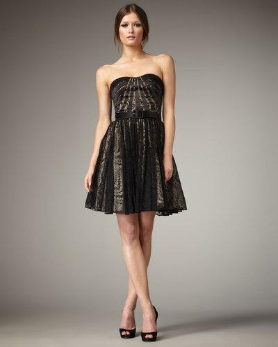 Aidan Mattox Lace-Skirt Strapless Dress