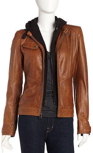 Andrew Marc Decoy Leather Hoodie Jacket, Walnut