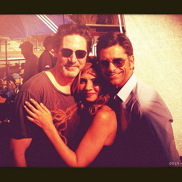 John Stamos posed with Scott Cohen and Callie Thorne on the first day of shooting his guest role on Necessary Roughness. Source: Instagram user johnstamos