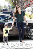 Miranda Kerr held onto her son, Flynn Bloom, in LA.
