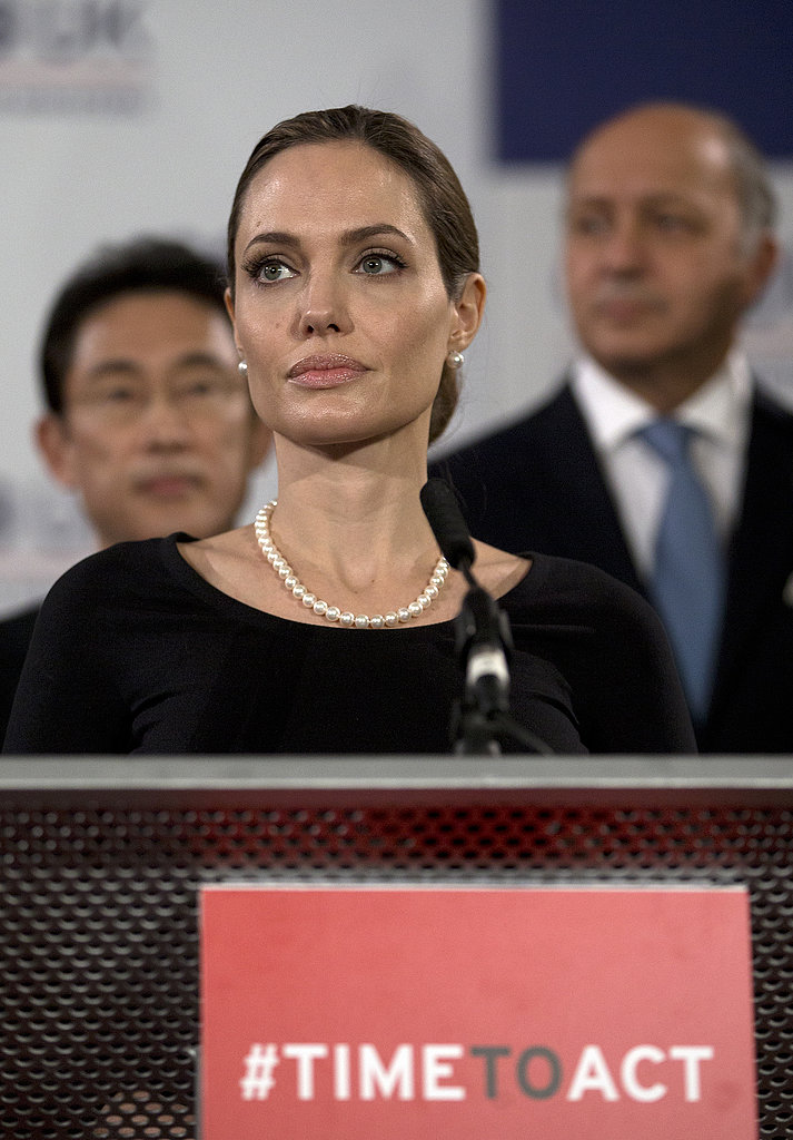 Angelina Jolie spoke at the G8 Foreign Ministers' conference in London.