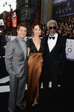 Tom Cruise, Olga Kurylenko and Morgan Freeman posed together at the Oblivion premiere in Hollywood.