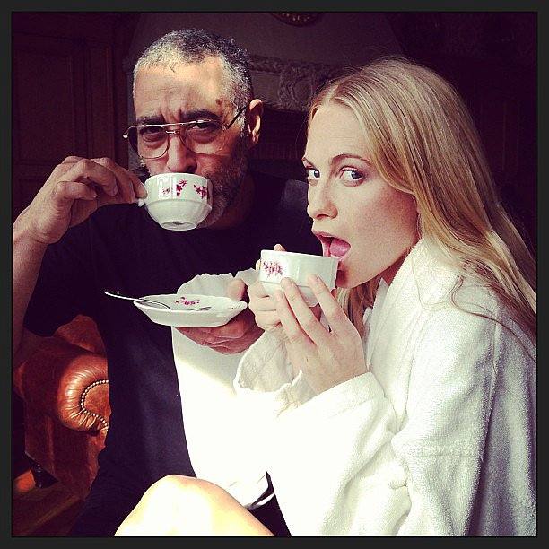 Poppy Delevingne sipped tea in a white robe during a trip to Frankfurt, Germany. Source: Instagram user poppydelevingne