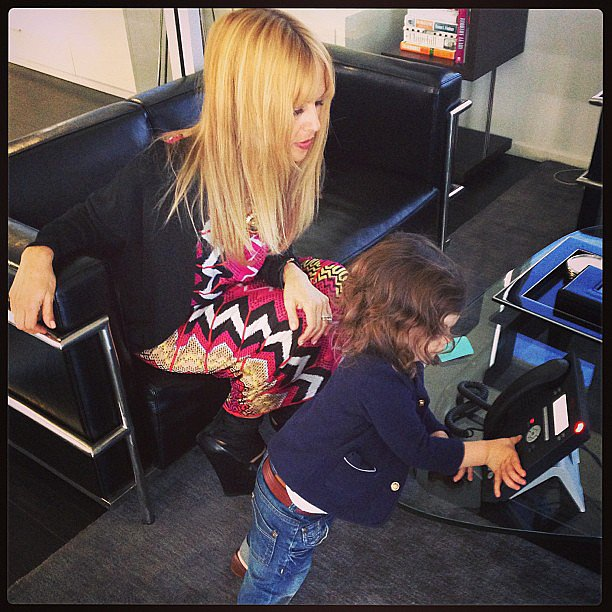 """Call for Ms. Zoe!"" Skyler Berman played receptionist for his working mama, Rachel Zoe. Source: Instagram user rachelzoe"