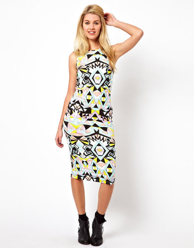 Glamorous Midi Dress In Geo Swirl