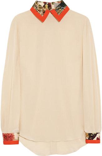 Preen by Thornton Bregazzi Strawberry cotton-trimmed silk crepe de chine blouse