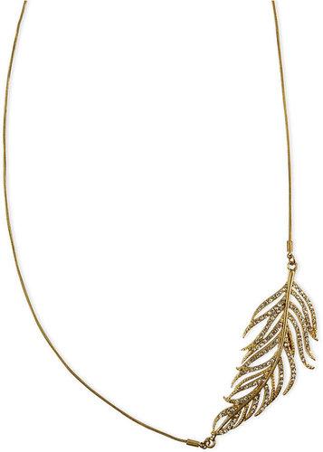 RACHEL Rachel Roy Necklace, Gold-Tone Glass Crystal Feather Statement Necklace