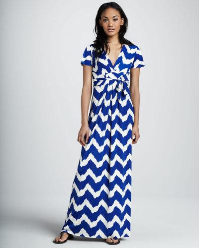 T Bags Chevron-Print Maxi Dress