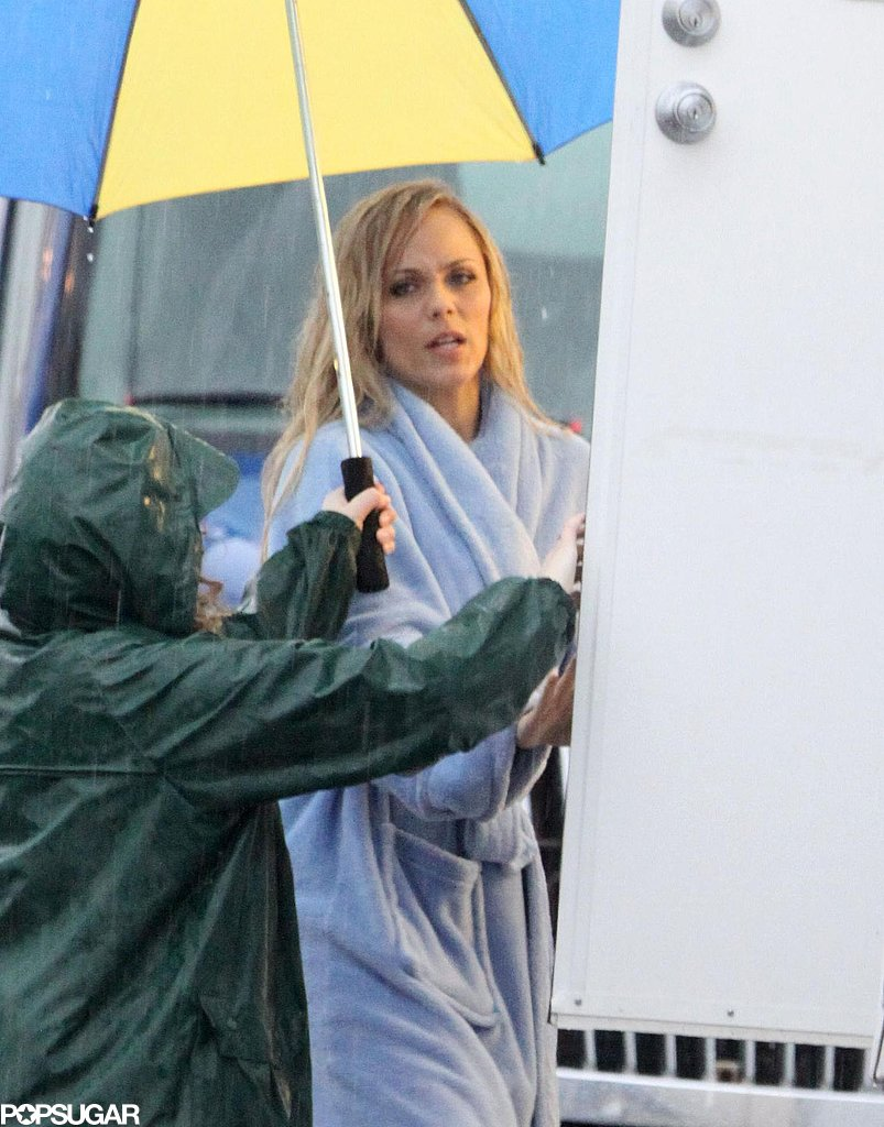 Laura Vandervoort kept out of the rain on the Toronto set of Bitten on Tuesday.
