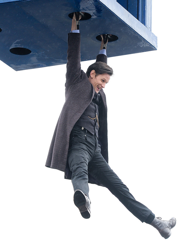 Matt Smith hung around on Tuesday while shooting the Doctor Who 50th anniversary special in Trafalgar Square in London.