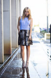 The pastel top kept this shimmering skirt more daytime-appropriate, while lace-up heels added edge. Source: Le 21ème | Adam Katz Sinding