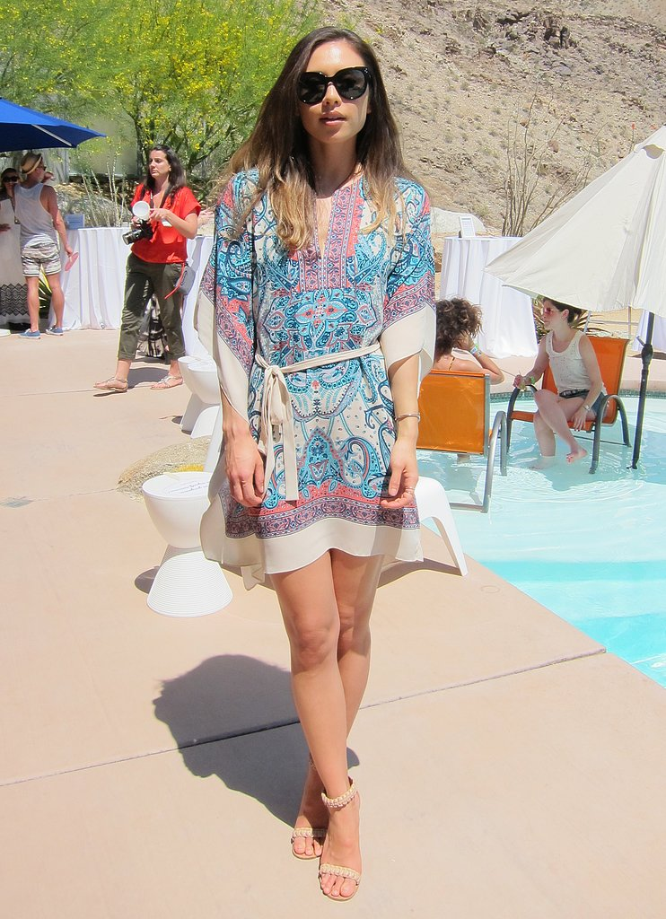 Rumi Neely showed off her festival style in a BCBG Max Azria printed tunic dress and nude ankle-strap sandals. Source: Chi Diem Chau