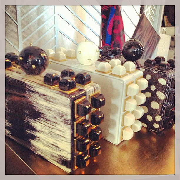 Tonya Hawkes delivered chunky studded clutches for Fall.