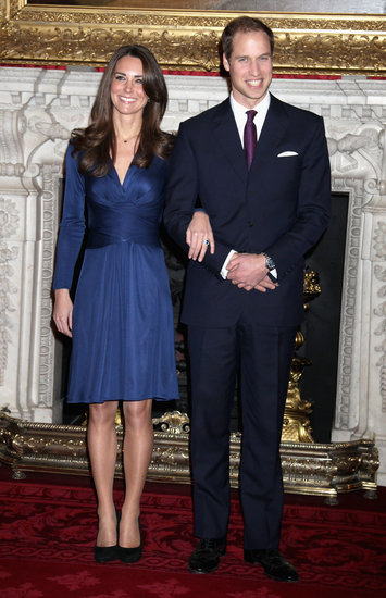 Kate Middleton chose a formfitting royal blue long-sleeved wrap dress from Issa London for the official engagement announcement in November 2010. The dress — and London-based label — became an iconic style moment for the future Duchess of Cambridge.