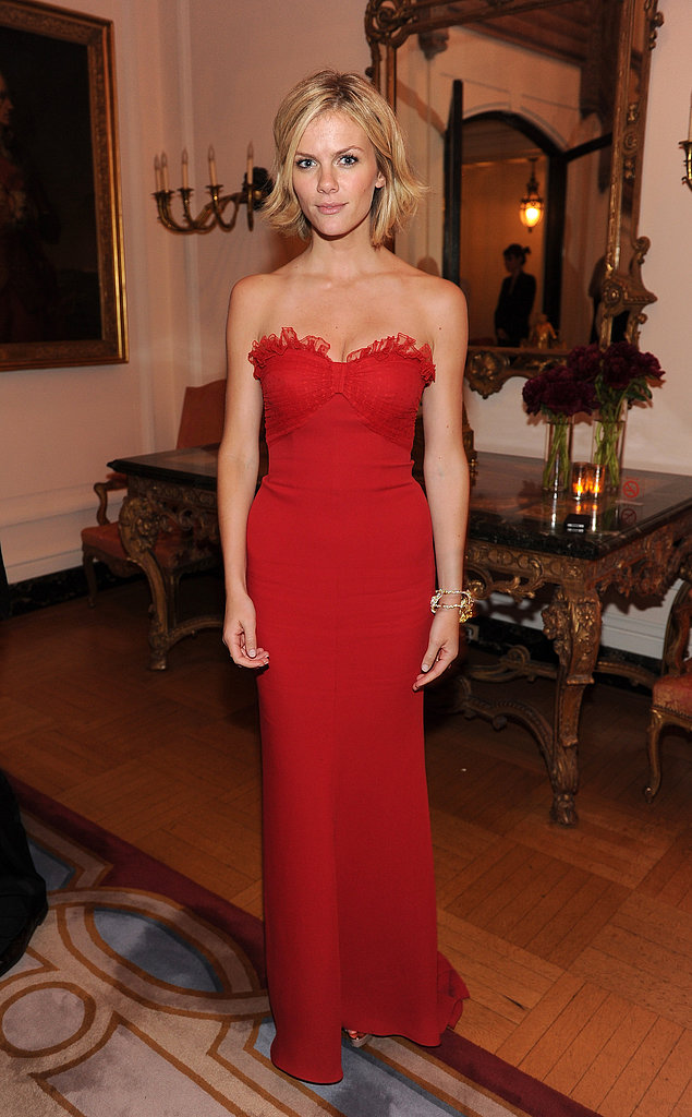 The actress drew all eyes in a fiery red strapless gown at the Bloomberg and Vanity Fair cocktail reception following the 2011 White House Correspondents' Dinner.