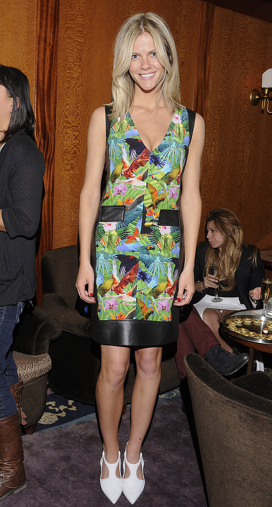 Brooklyn showed her fashion prowess in a tropical-print Altuzarra sheath and white pumps for an event in LA in February 2012.
