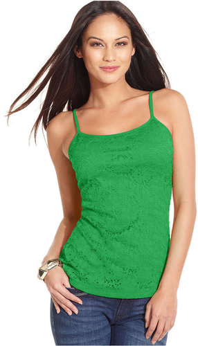 Style&co. Top, Sleeveless Lace-Front Camisole Tank