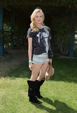Diane Kruger paired a Mick Jagger tee with shorts.