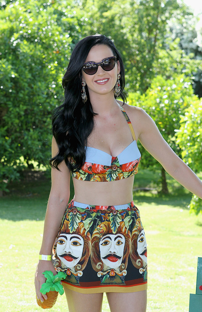 Katy Perry bared her midriff in a bra top and skirt.