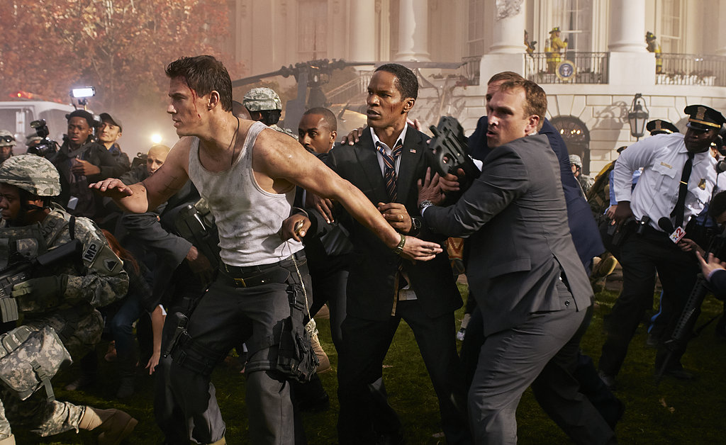 Channing Tatum sexily navigates a chaotic crowd. Those arms!