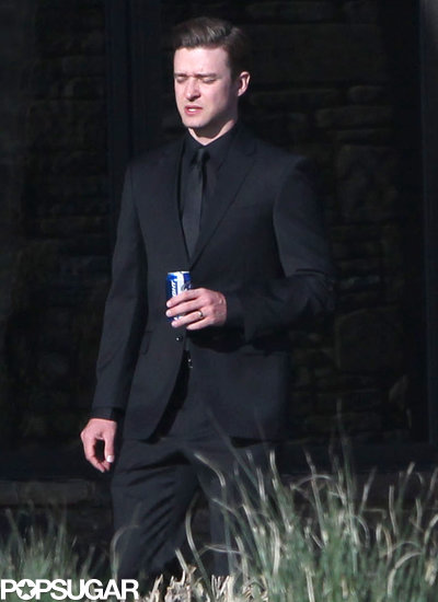 Justin Timberlake sipped on a beer.