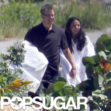 Matt and Luciana Damon held hands in St. Lucia.