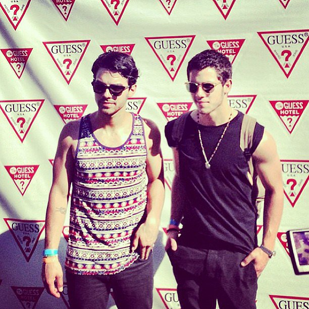 Nick Jonas and Joe Jonas posed together at the Guess Hotel party at Coachella.  Source: Instagram user joejonas