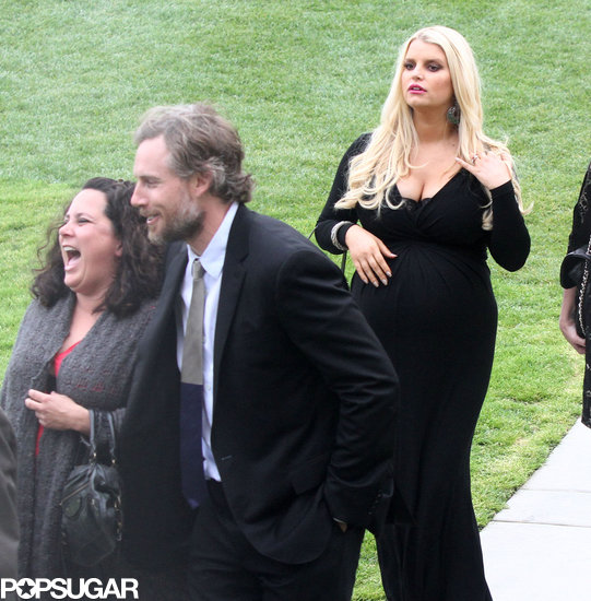Eric Johnson and Jessica Simpson attended a wedding in LA.