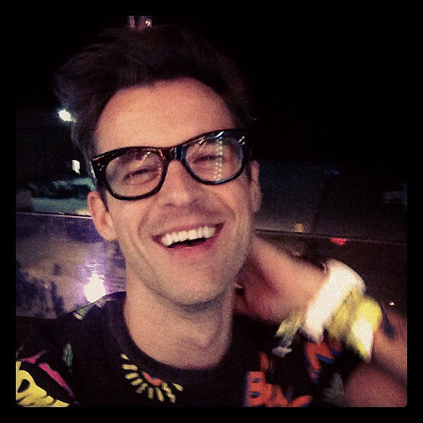 Brad Goreski smiled on the Ferris wheel at the Armani Exchange Neon Carnival.  Source: Instagram user mrbradgoreski