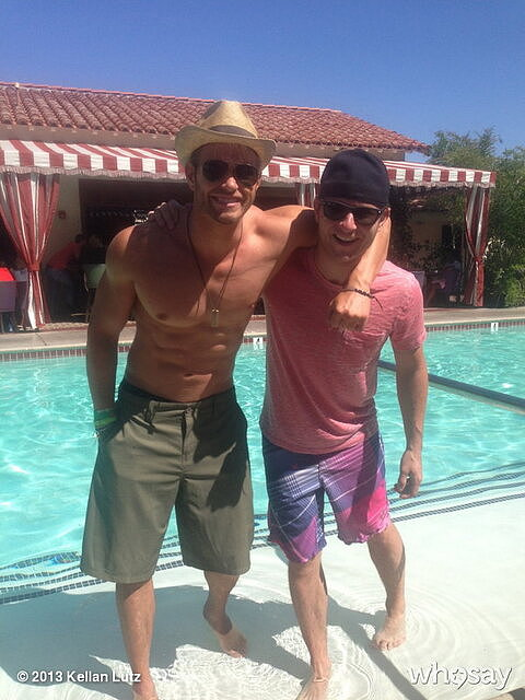 Kellan Lutz logged brother bonding time poolside with Brandon Lutz in Indio, CA, during Coachella.  Source: Twitter user kellanlutz