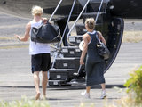 Chris Hemsworth and wife Elsa Pataky boarded a private jet after attending Matt and Luciana Damon's wedding vow renewal ceremony in St. Lucia.
