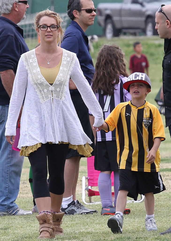 Britney Spears held her son Jayden James's hand after his soccer game in LA.