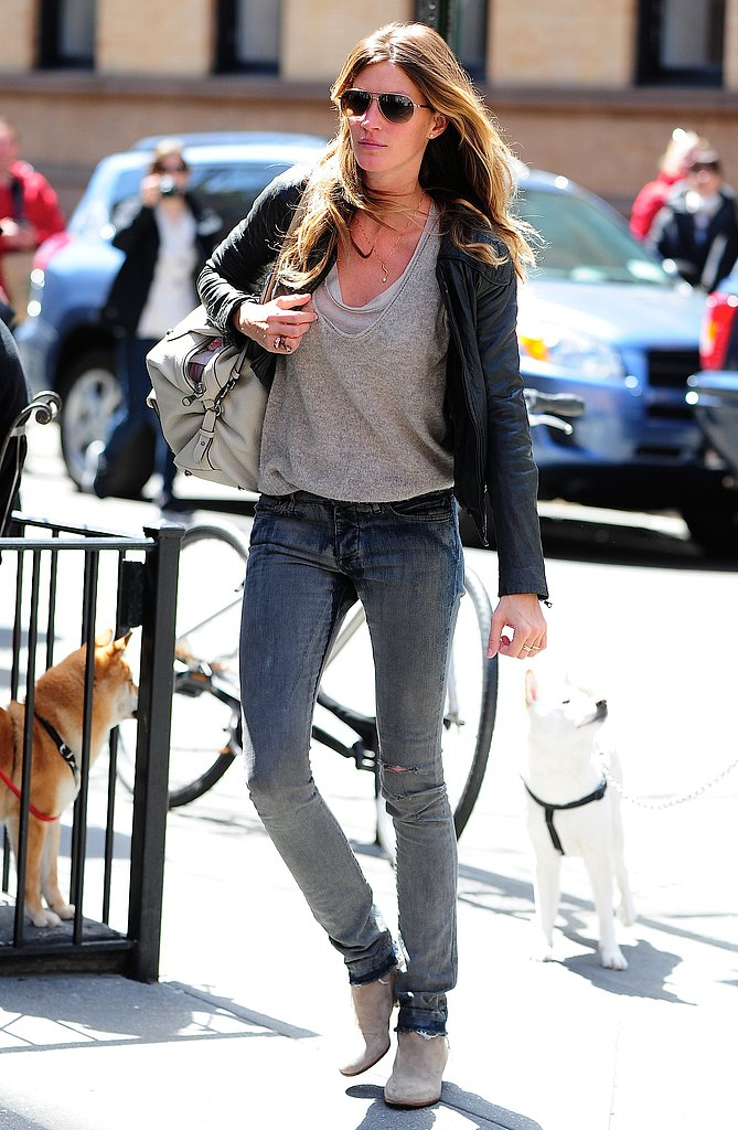 Gisele Bündchen kept it casual (and cool) when she sported ripped skinny jeans with gray booties, a black leather jacket, and aviator sunglasses in NYC.