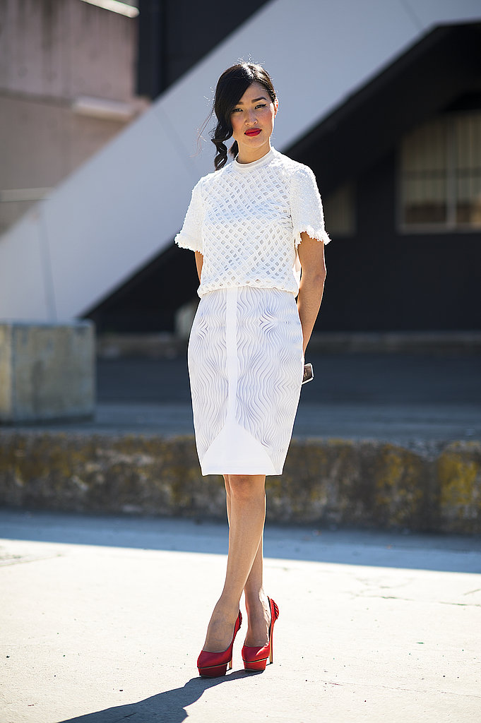Red and white gave this ladylike look a bolder color story. Source: Le 21ème | Adam Katz Sinding