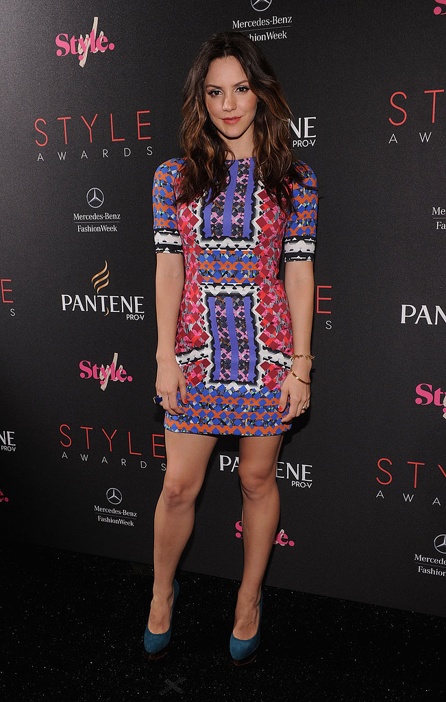 Katharine McPhee showed lots of leg in a purple printed Peter Pilotto mini at the Style Awards in September 2012.