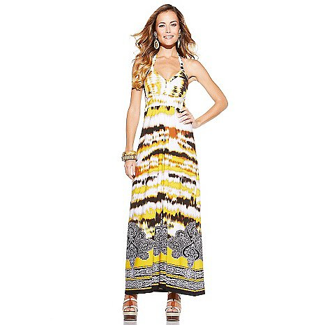IMAN Global Chic Halter-Style Maxi Dress Combine jet-set elegance with easy-to-wear comfort in this printed microfiber knit maxi dress that's as perfect poolside as it is for a glamorous Summer night on the town.