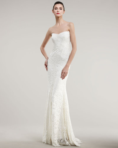 Nicole Miller Strapless Lace Bias Gown