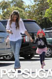 Alessandra Ambrosio ran errands in LA with her daughter.