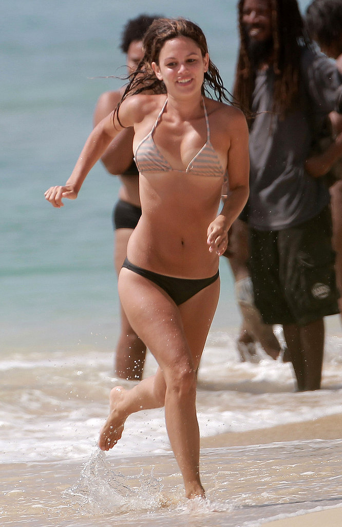 Rachel Bilson ran on the beach in Barbados.