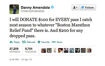 New England Patriots player Danny Amendola pledged his support for Boston Marathon relief.