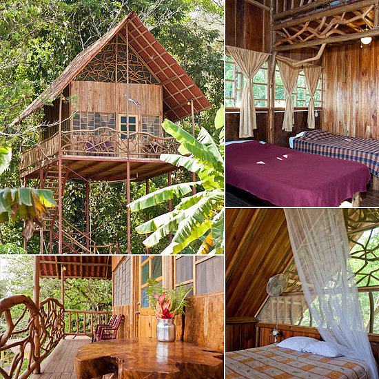 For a tropical escape, try Costa Rica's rainforest tree house. Not only do guests get 24-hour access to the local hot springs, but there's also a gorgeous wrap-around balcony with handcrafted furniture, three beds, a kitchen, a bathroom, and even WiFi.