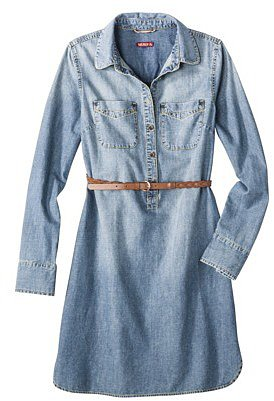 Merona® Women's Chambray Shirt Dress w/Belt - Blue