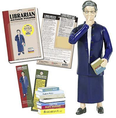 The librarian action figure is meant to be cheeky, sure (featuring a shushing finger), but it's modeled after a real librarian. The toy references Nancy Pearl, an American librarian, bestselling author, literary critic, and former executive director of the Washington Center For the Book at Seattle Public Library.