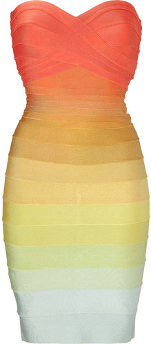 Hervé Léger Rainbow Strapless Bandage Dress