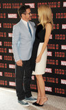 Gwyneth Paltrow and Robert Downey Jr. posed together for an Iron Man 3 photo call in the UK.