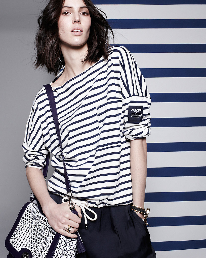 Another snap of model Ruby Aldridge, dressed in the Saint James for Coach Summer 2013 collaboration.